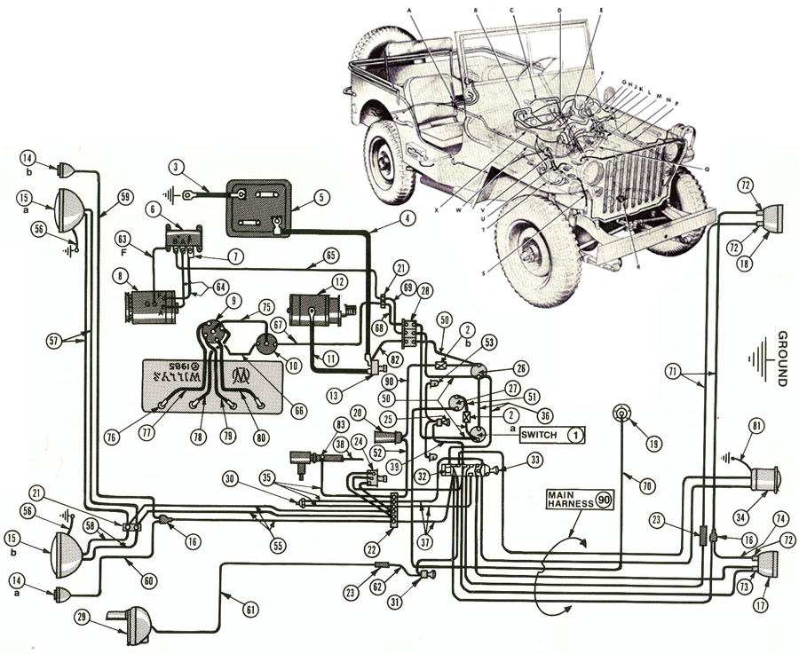schema electrique jeep willys